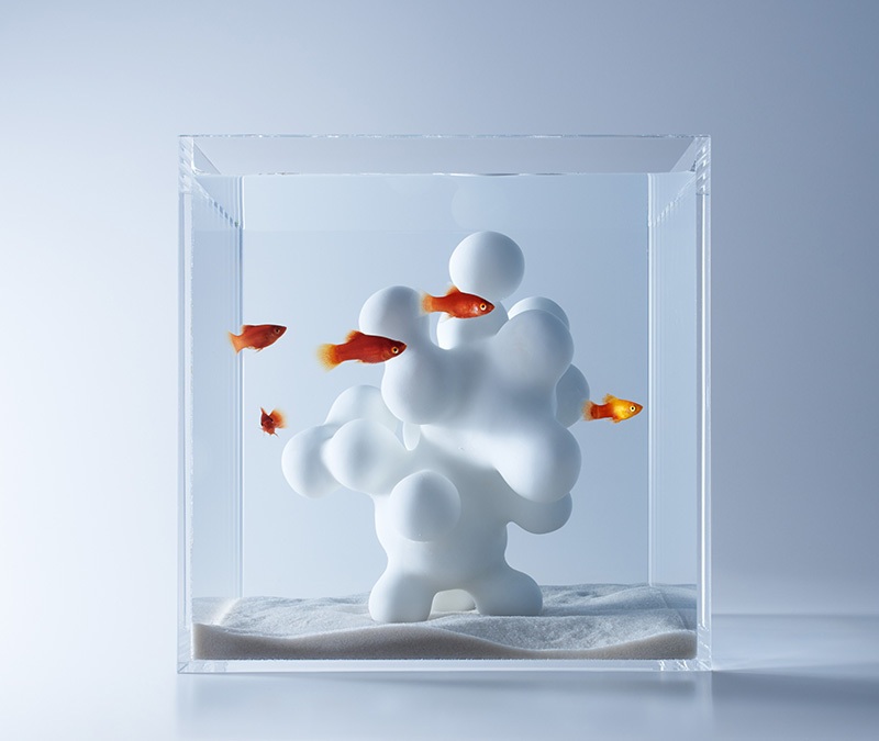 Minimalist Aquariums Filled With 3D Printed Flora by Designer Haruka Misawa