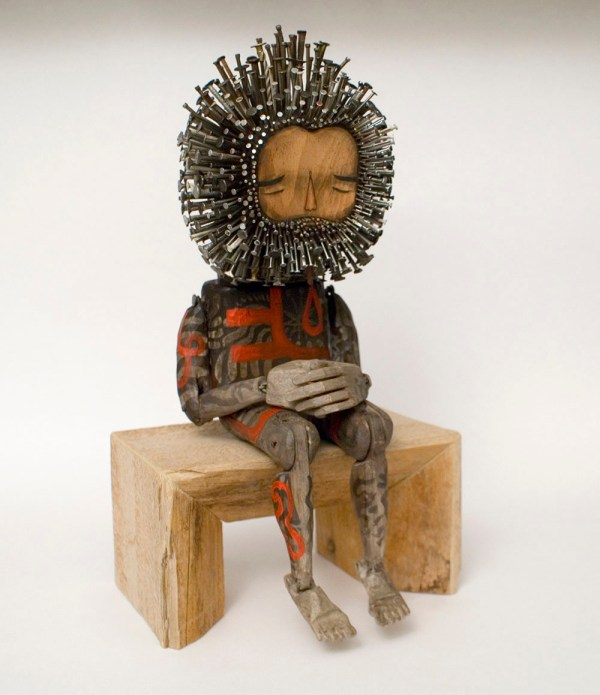 Figurative Wood Sculptures Pierced With Hundreds Of