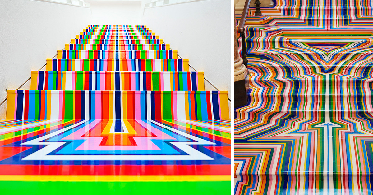 Technicolor Rainbow Tape Floor Installations by Jim Lambie