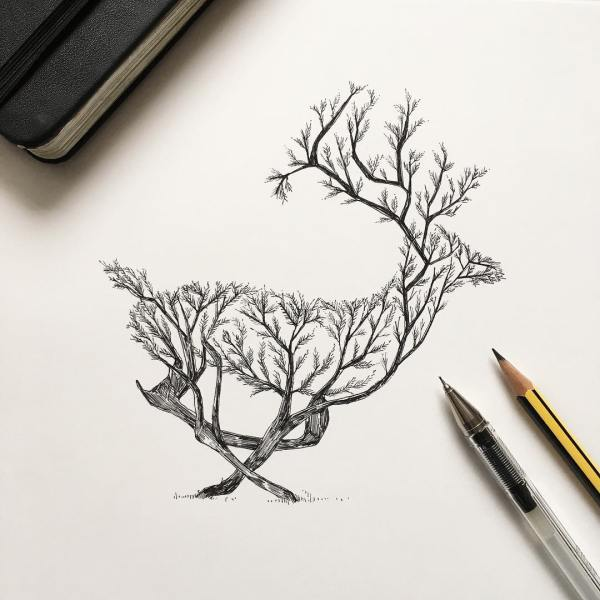 Pen & Ink Depictions Of Trees Sprouting Animals Alfred Basha Colossal