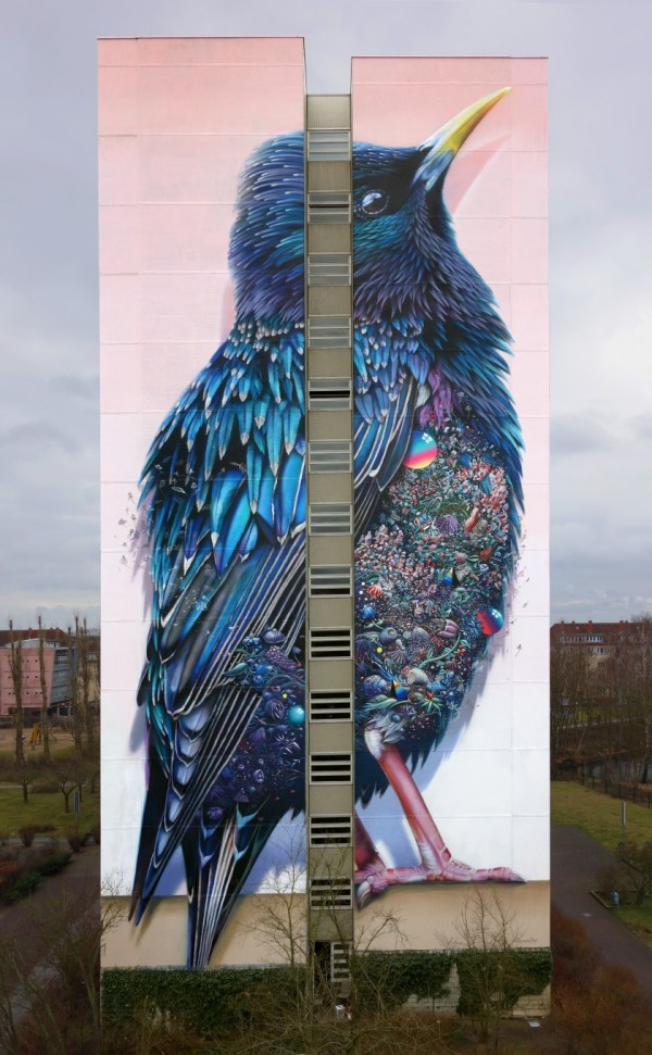 Starling Giant Mural in Berlin Germany