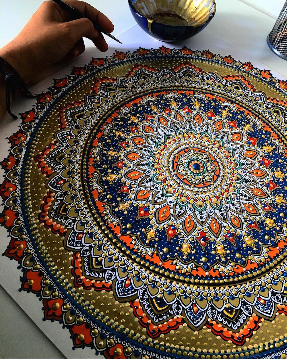 Intricate Mandalas Gilded With Gold By Artist Asmahan A