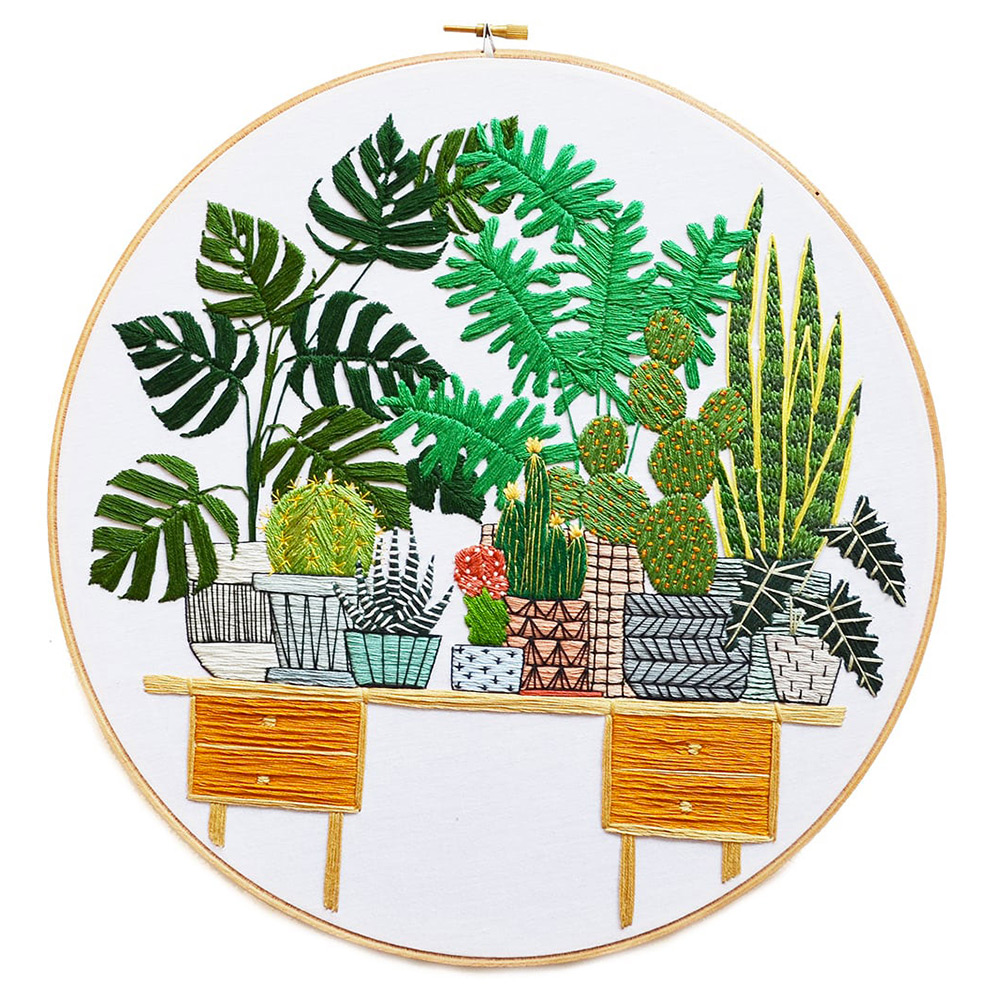 Stylish Embroidered Houseplants and Interiors by Sarah K