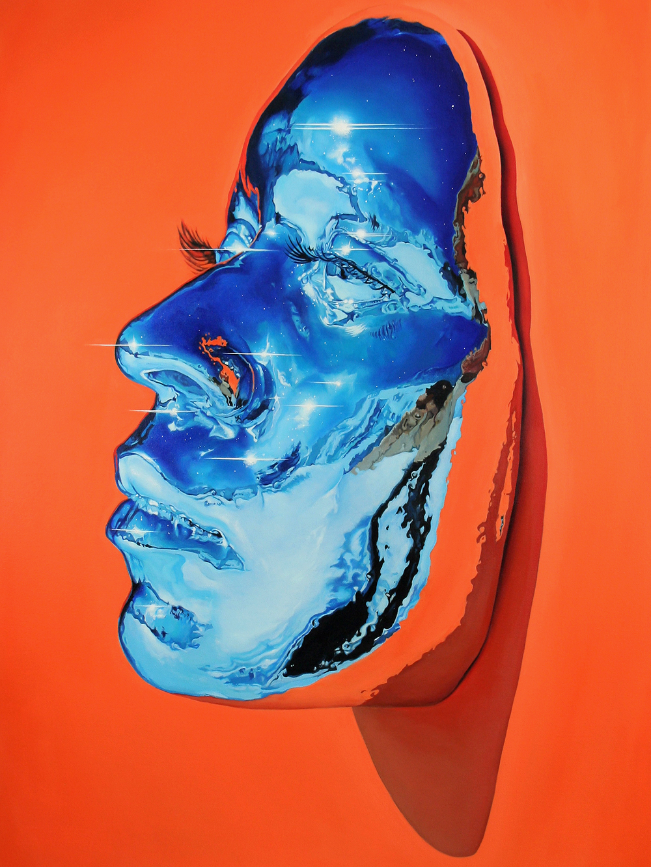 Hyperrealistic Oil Paintings of Vivid Chrome Masks by Kip