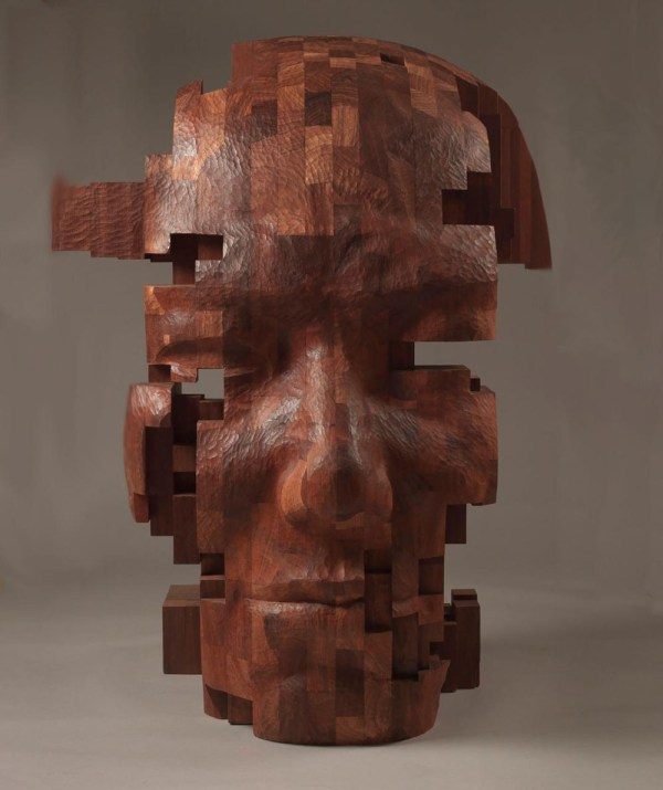 Pixelated Wood Sculptures Carved Hsu Tung Han Colossal