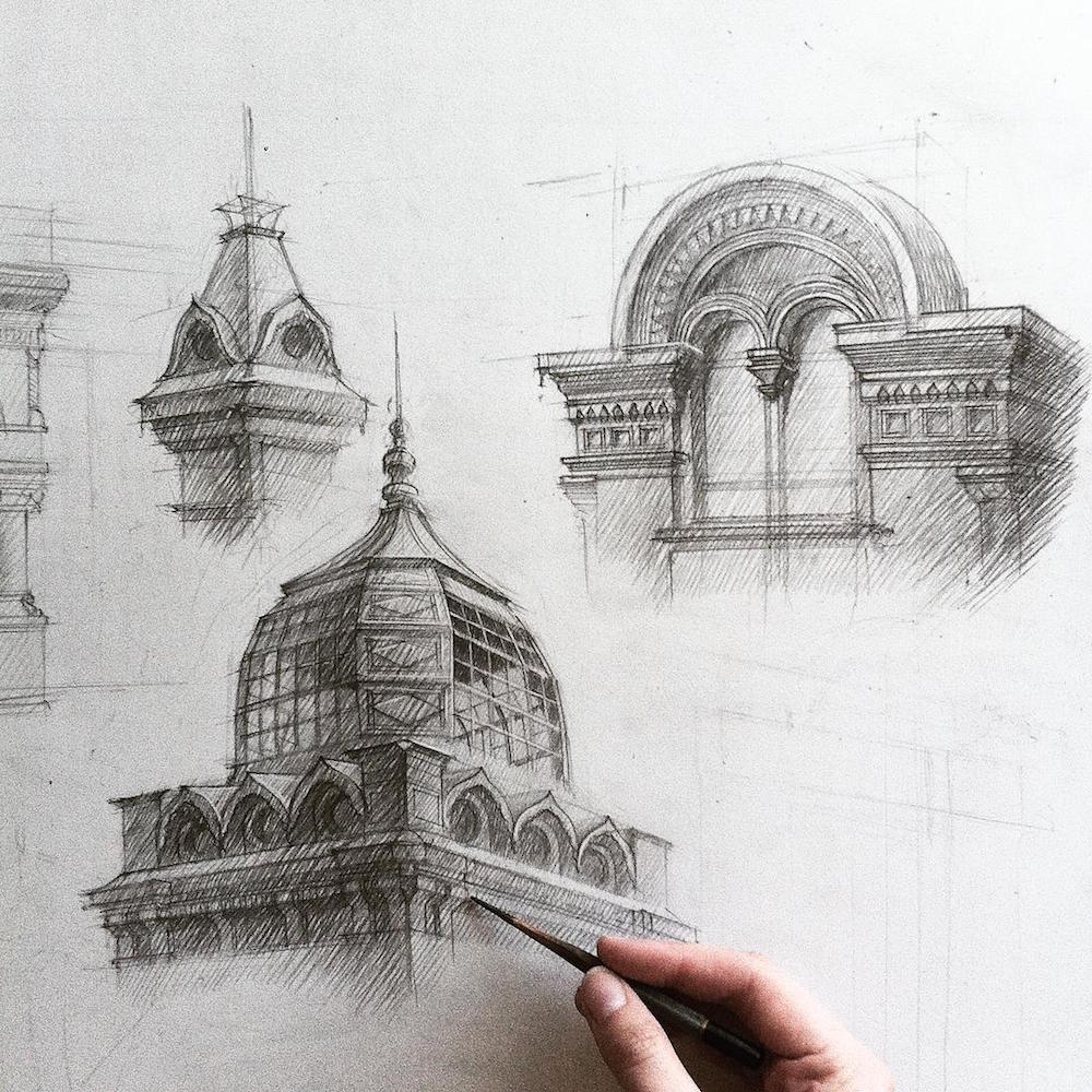 hand drawn architectural sketches