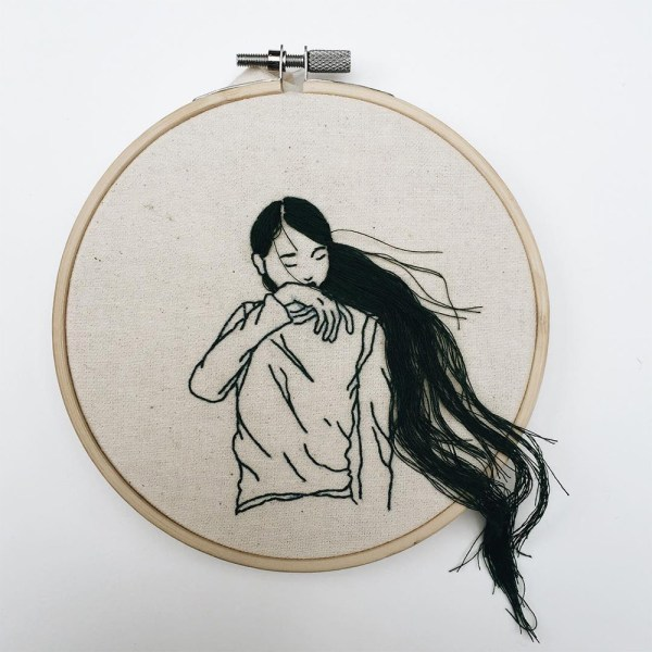 Hand-sewn Cascade Embroidered Hoops Sheena Liam Colossal