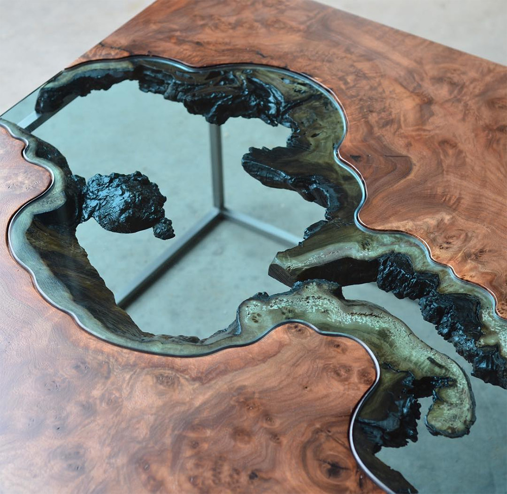 Wood Tables and Wall Art Embedded with Glass Rivers and Lakes by Greg Klassen  Colossal