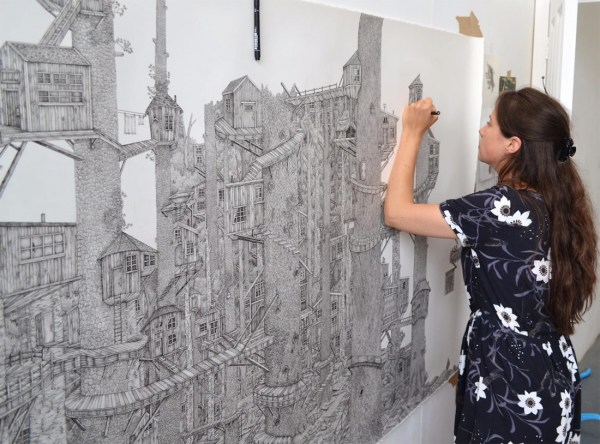 Monumentally Detailed Pen Drawings Combine Real And