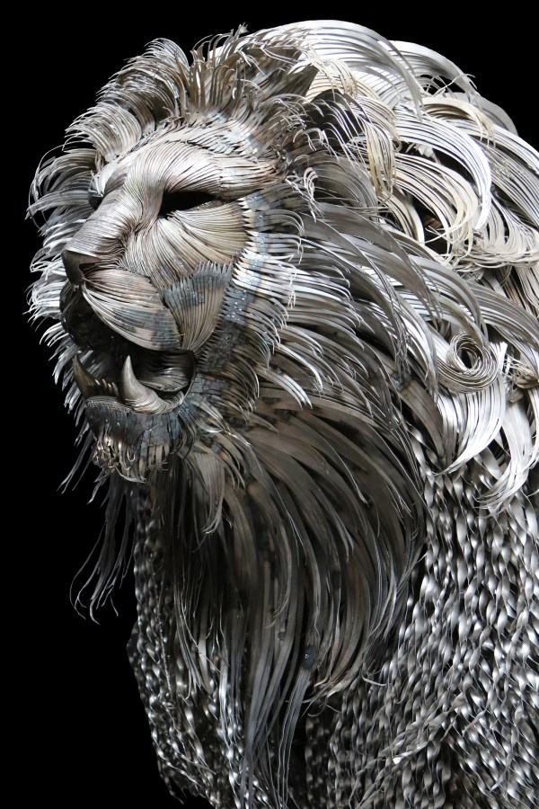 Towering Hammered Steel Lion Seluk Lmaz Colossal