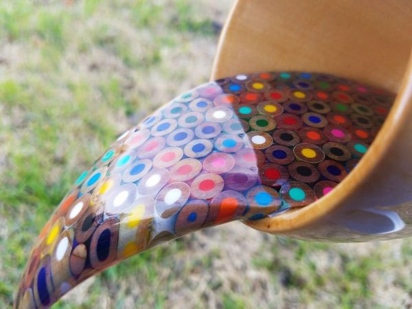 Floating Coffee Cup Pours Rainbow Of Liquid Pencils