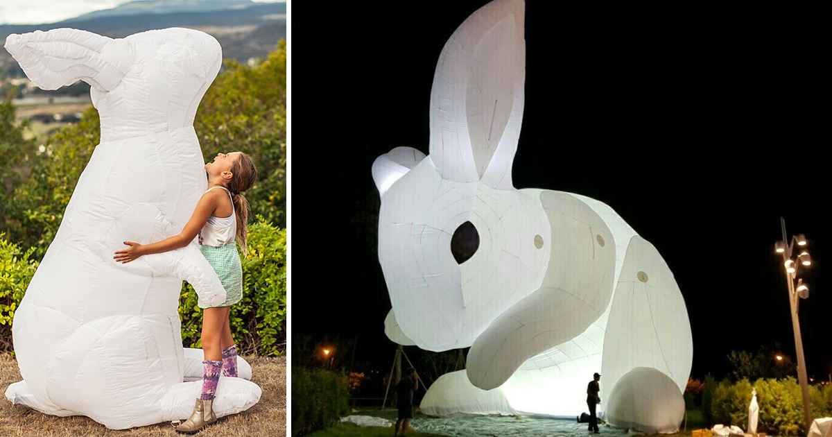 Amanda Parers Giant Inflatable Rabbits Invade Public