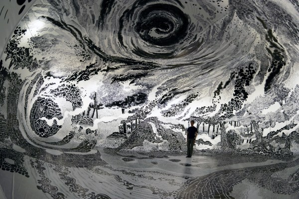 360-degree Immersive Drawing Created With 120 Marker Pens Oscar Oiwa Colossal