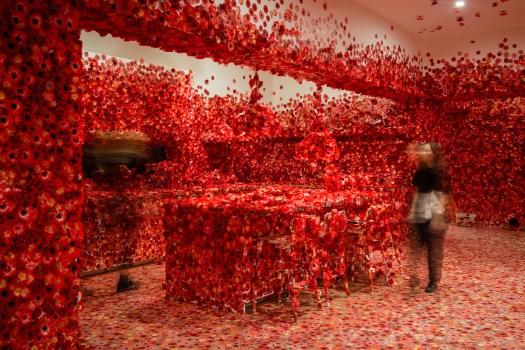 Exhibition image of Yayoi Kusama's Flower Obsession 2017 on display in NGV Triennial at NGV International 2017. Photo: Eugene Hyland