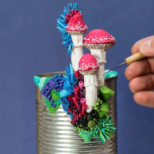 Discarded Objects Beautified With Colorful Coral