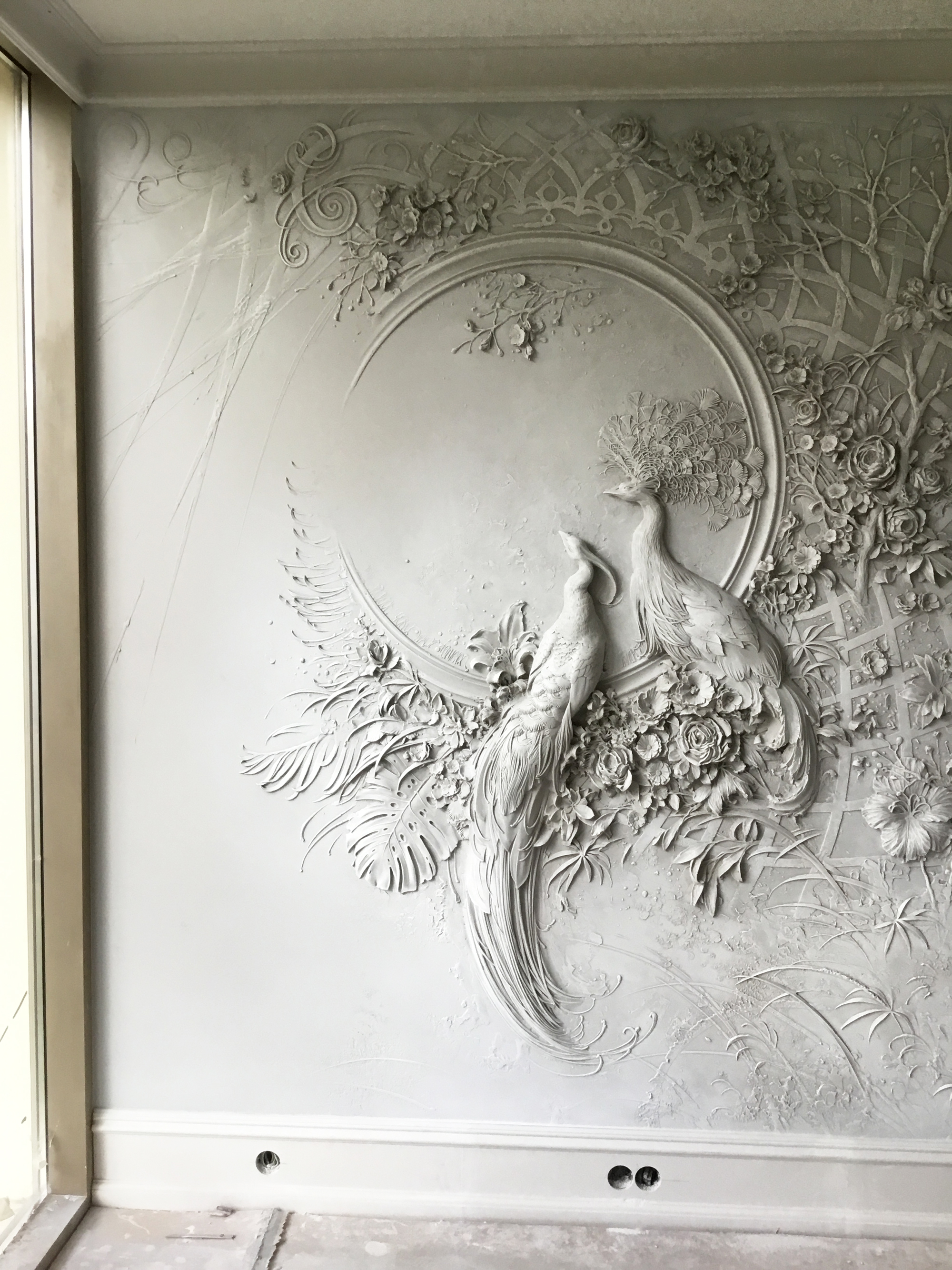 Interior BasRelief Sculptures of Peacocks and Lush
