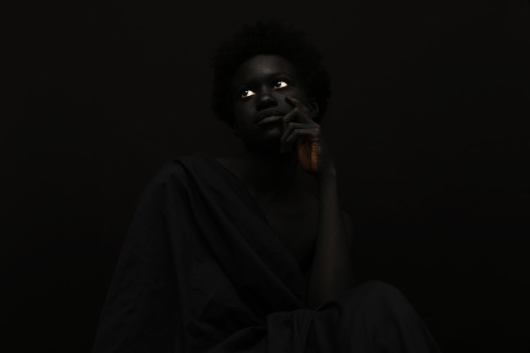 "Images from the series ""The Darkest Colour, ""photographed by Yannis Davy Guibinga, featuring Tania Fines and Madjou Diallo, and with bodypainting by Jean Guy Leclerc. All images via Yannis Davy Guibinga."