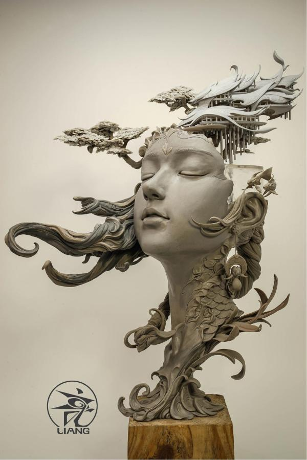 Dreamlike Landscapes Grow Sculptural Portraits Yuanxing Liang Colossal