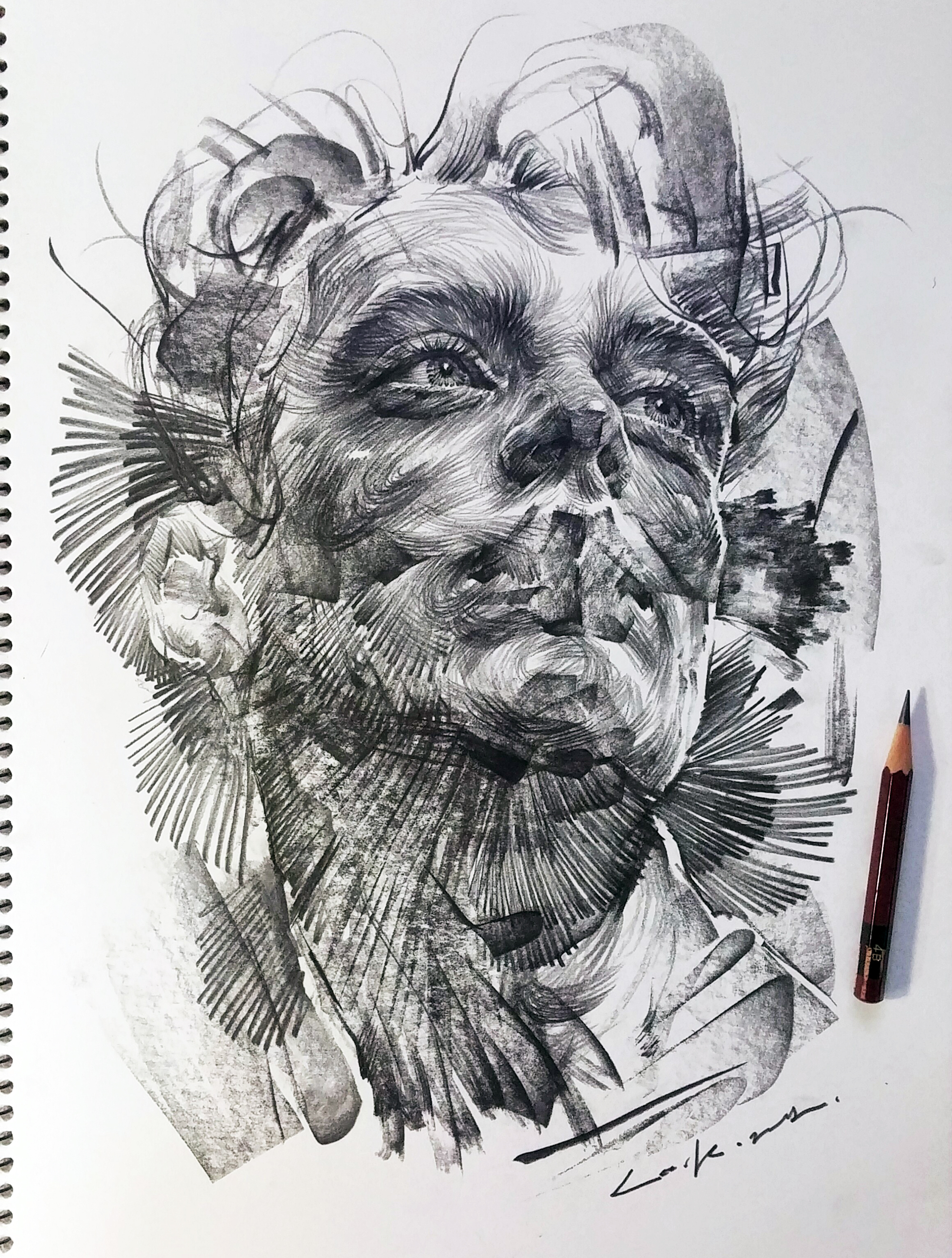 Swirling Lines And Swaths Of Charcoal Form Dramatic