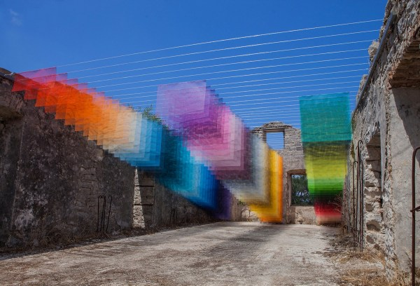 Colorful Installations Of Spray Paint And Mesh Form