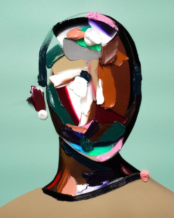 Thick Strokes Of Paint Create Featureless Portraits In