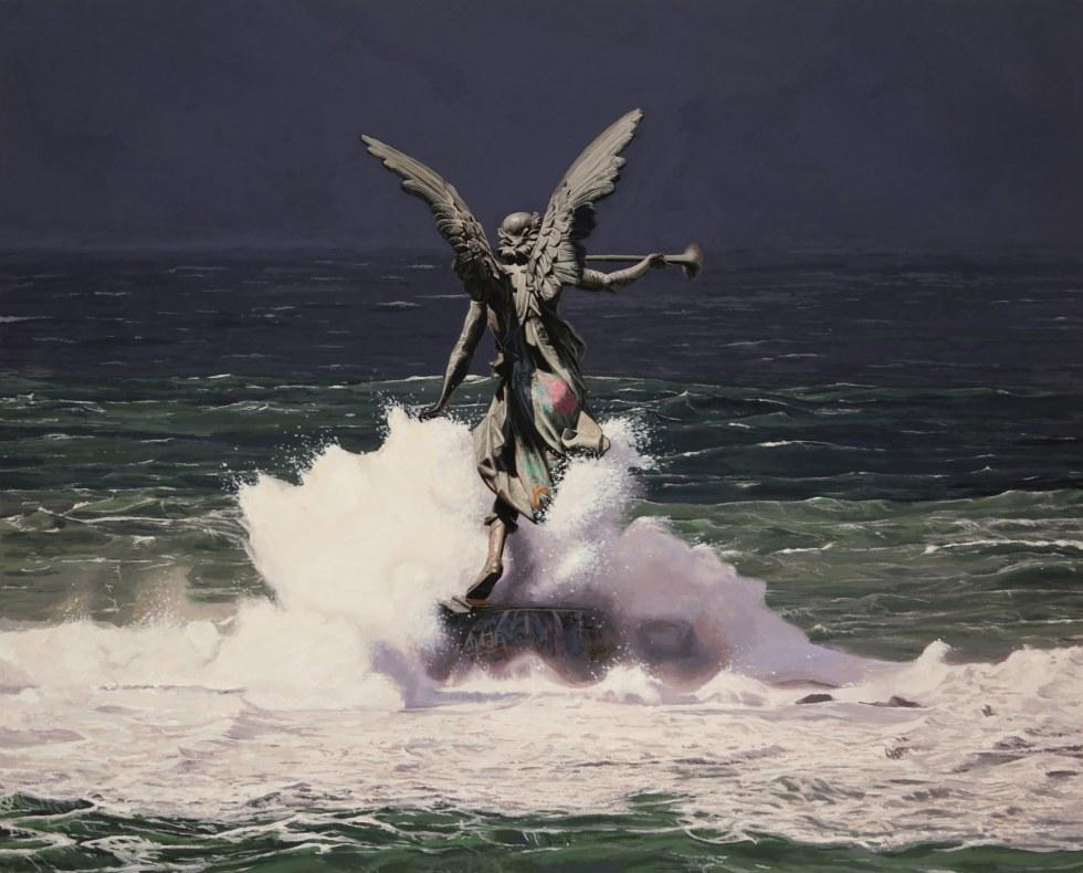 """""""Siren"""" (2018), Acrylic on wood panel, 30"""" × 24"""""""