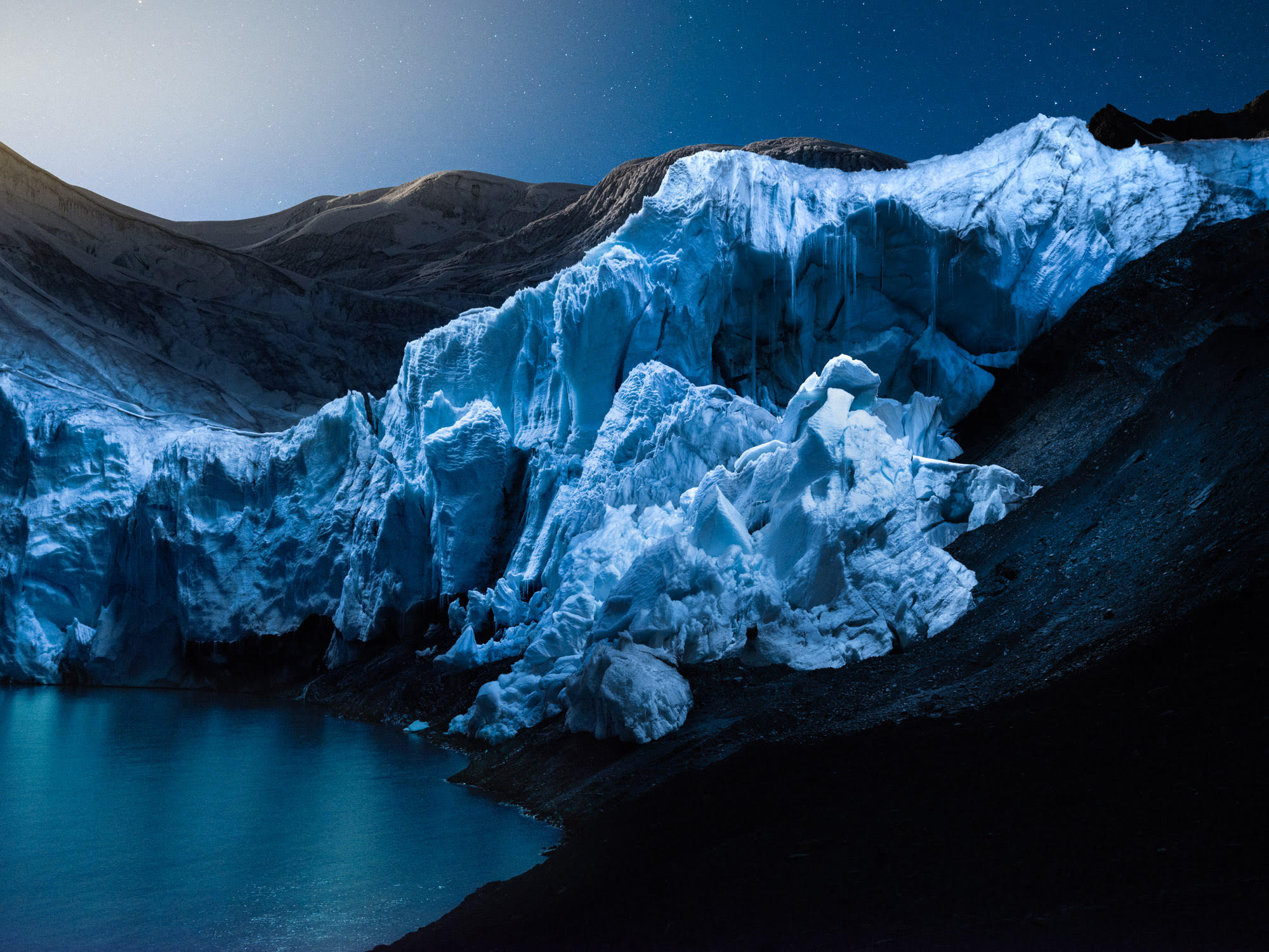 A Rare Tropical Glacier Captured at Night in Drone