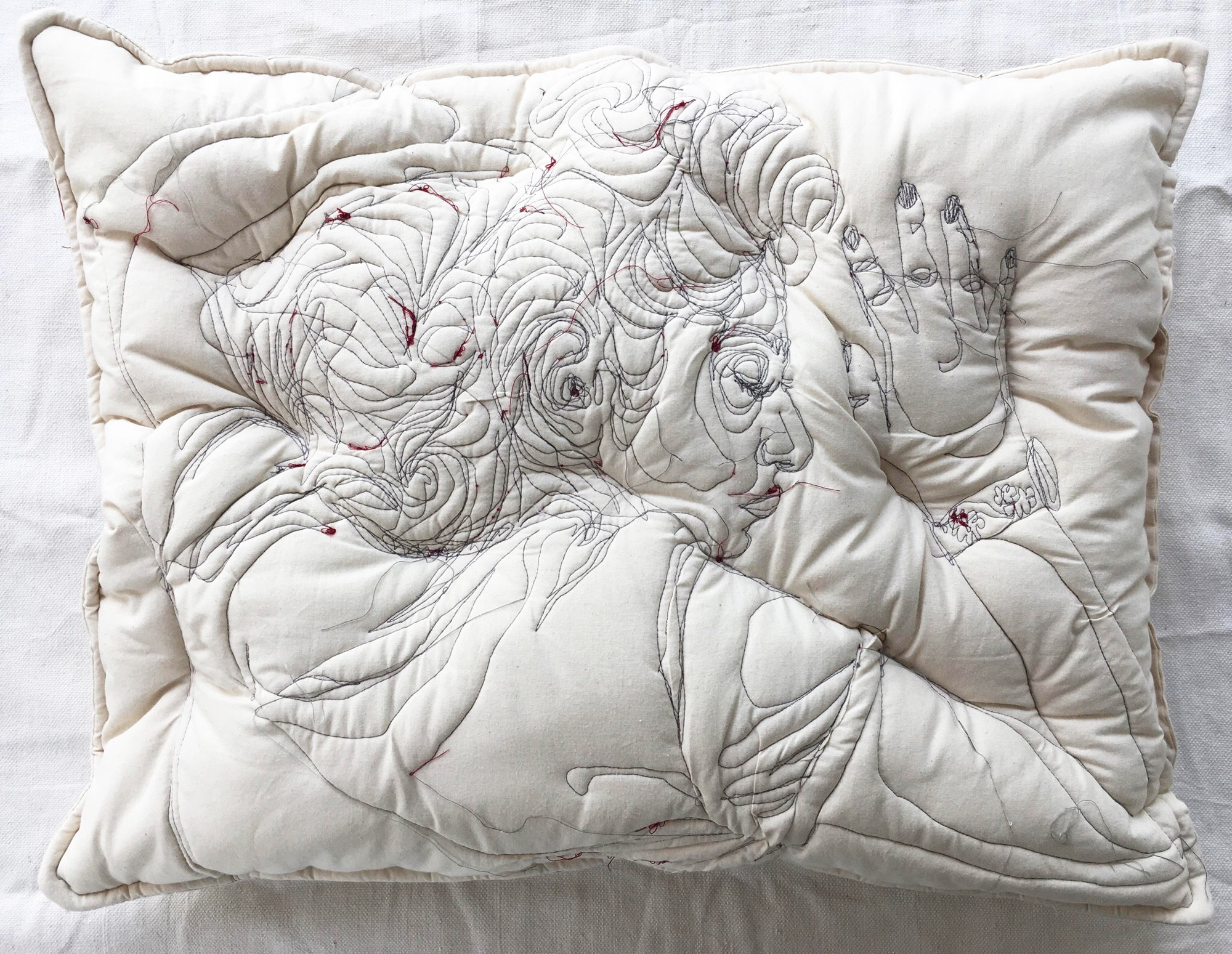 New Embroideries of People Slumbering on Handmade Pillows