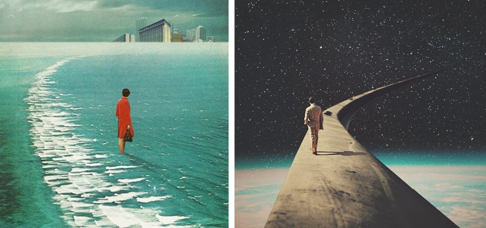 """""""Waiting for the Cities to Fade Out Waiting for You"""" (2015) left, """"We Chose This Road My Dear"""" (2015) right"""