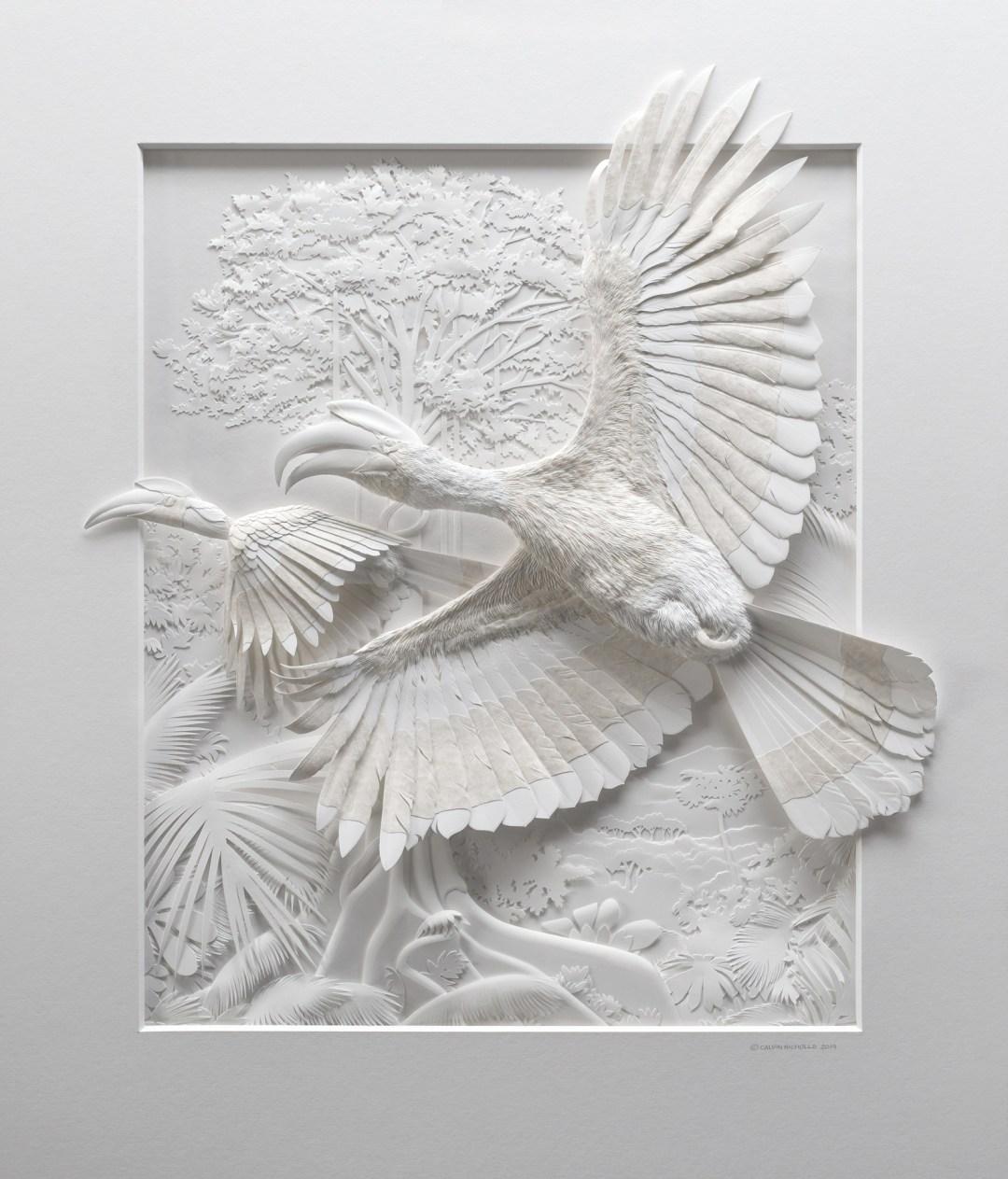 Intricate Paper Animals Spring from Textured Sculptures by Artist Calvin Nicholls
