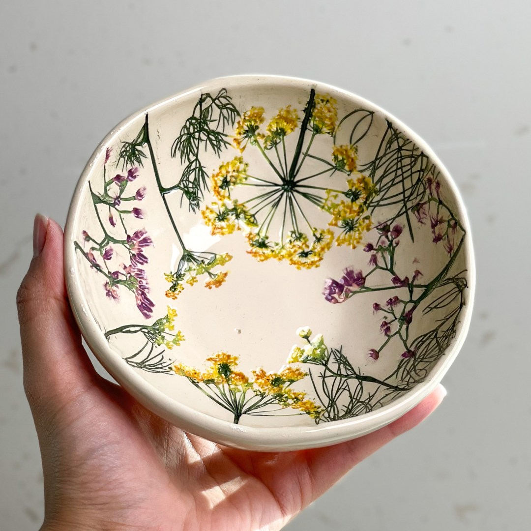 Painted Imprints of Delicate Botanical Assemblages Embellish Ceramic Dinnerware