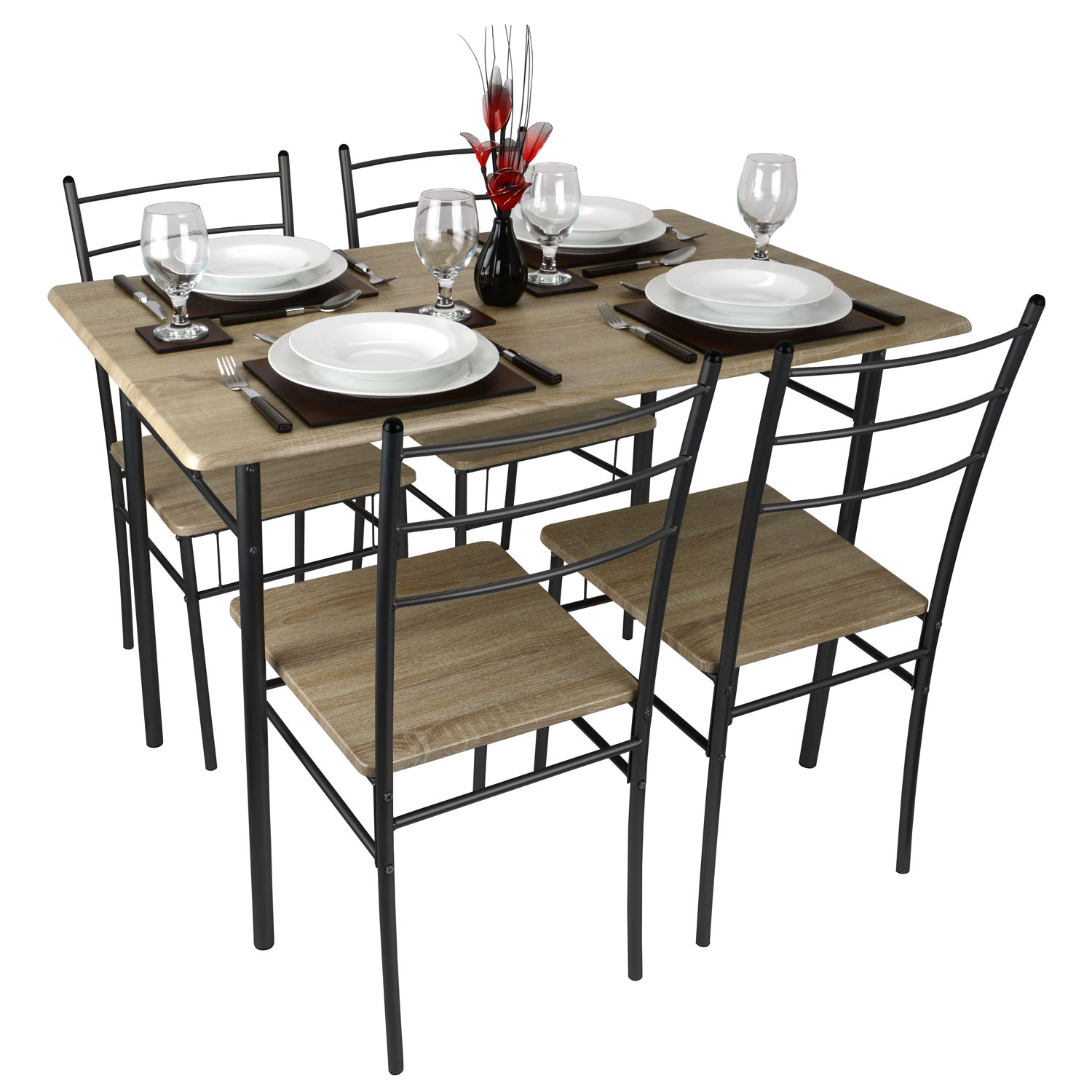 modern tables and chairs desk chair that leans back 5 piece dining table 4 set textured wood
