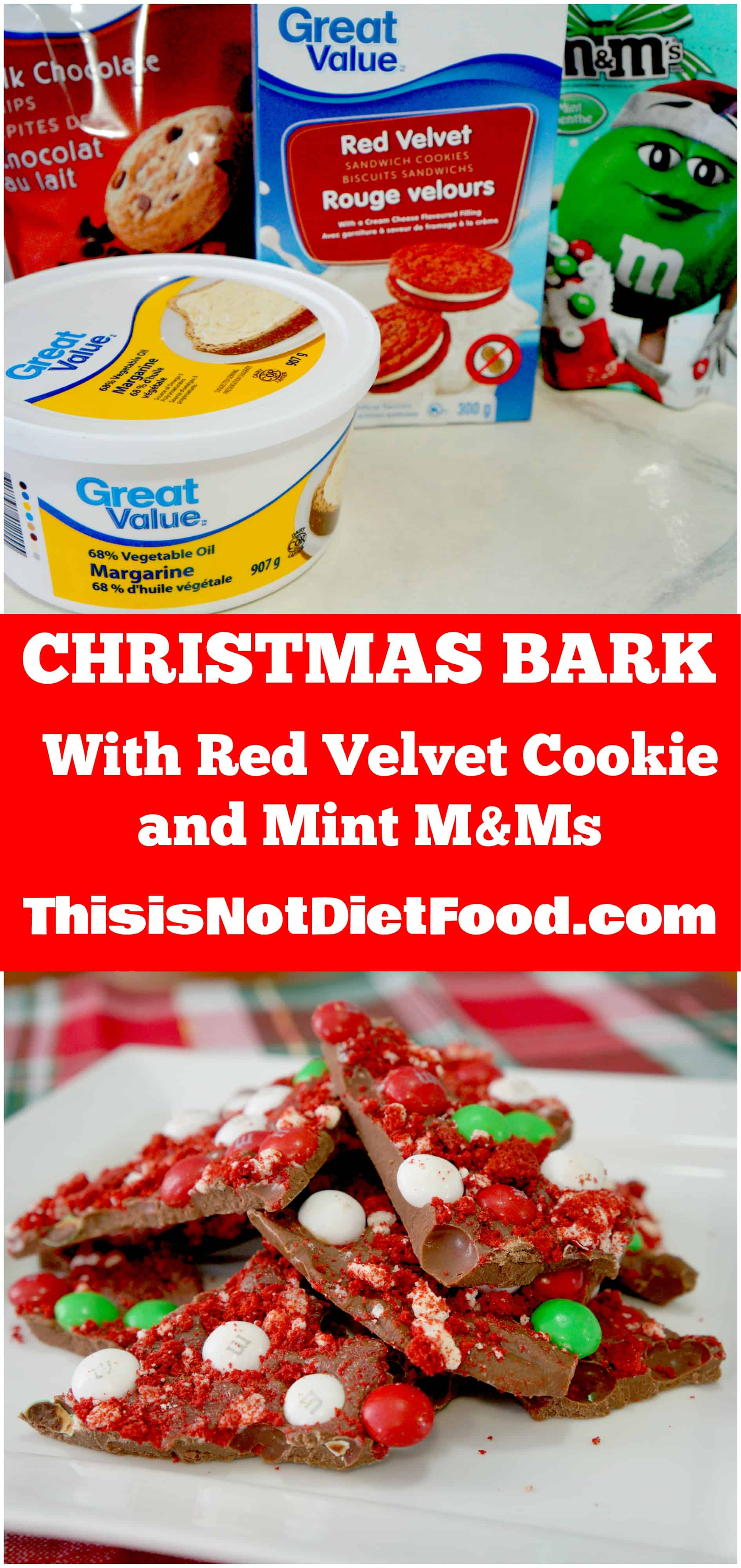 Christmas Bark with Red Velvet Cookie and Mint M&Ms.