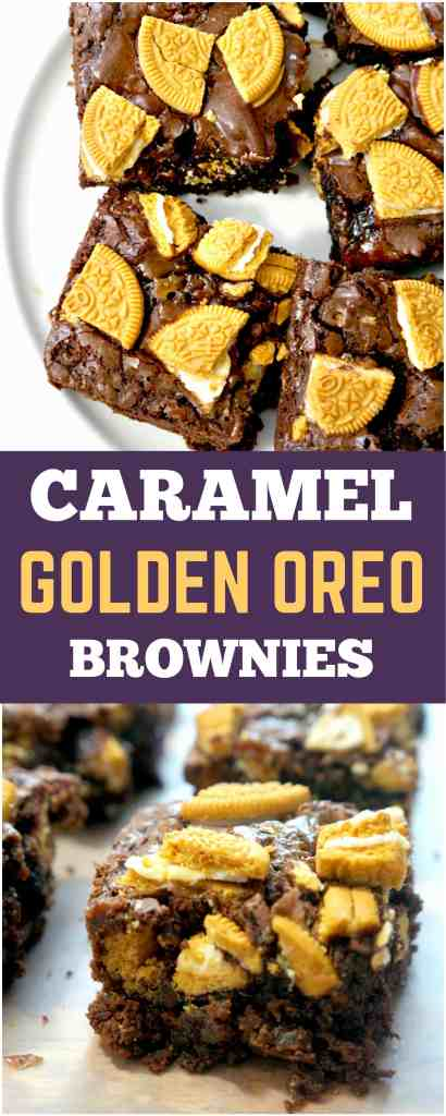 Caramel Golden Oreo Brownies. Easy dessert recipe using boxed brownie mix.