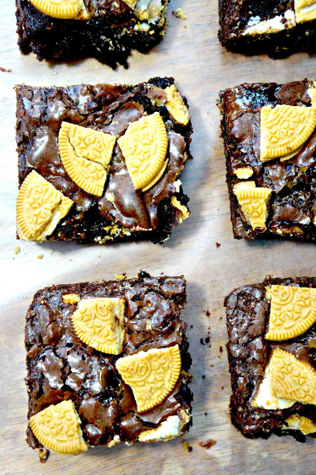 Caramel Golden Oreo Brownies. Easy recipe using boxed brownie mix.