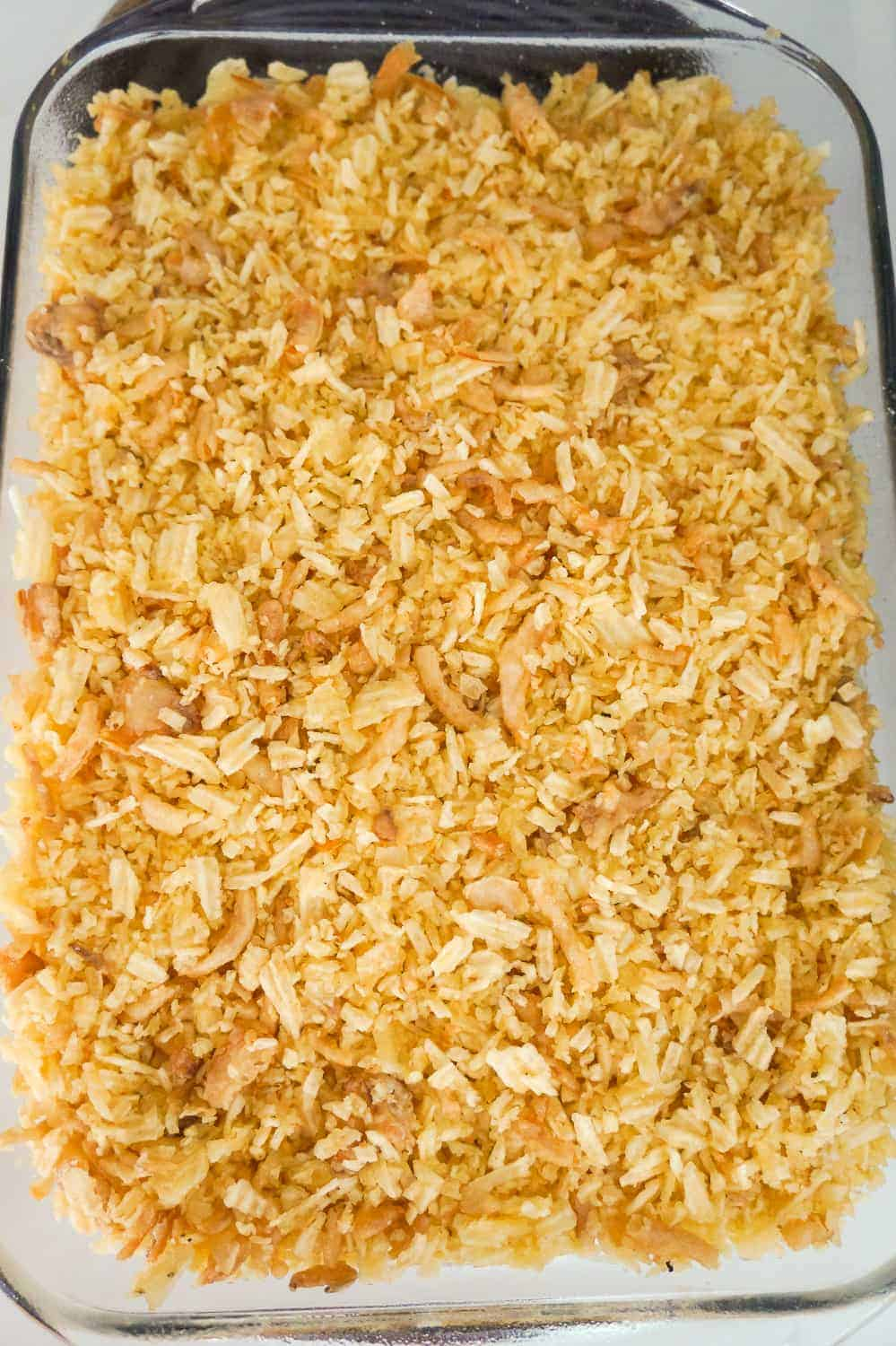 crushed potato chips and French's fried onions on top of mac and cheese