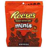 REESES CANDY PEANUT BUTTER CUPS MINI'S BAG 8 OZ