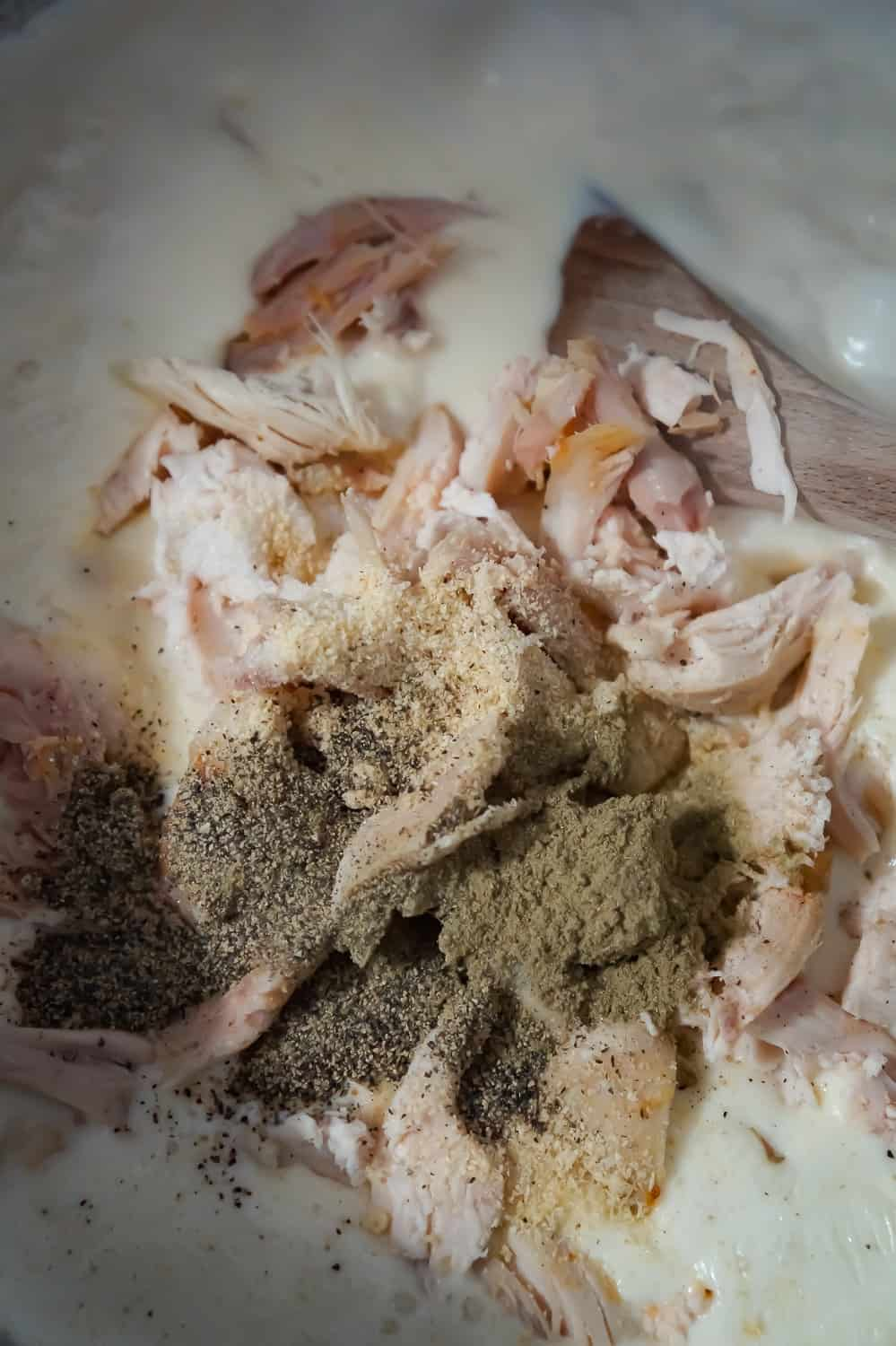 shredded chicken and spices added to a creamy sauce