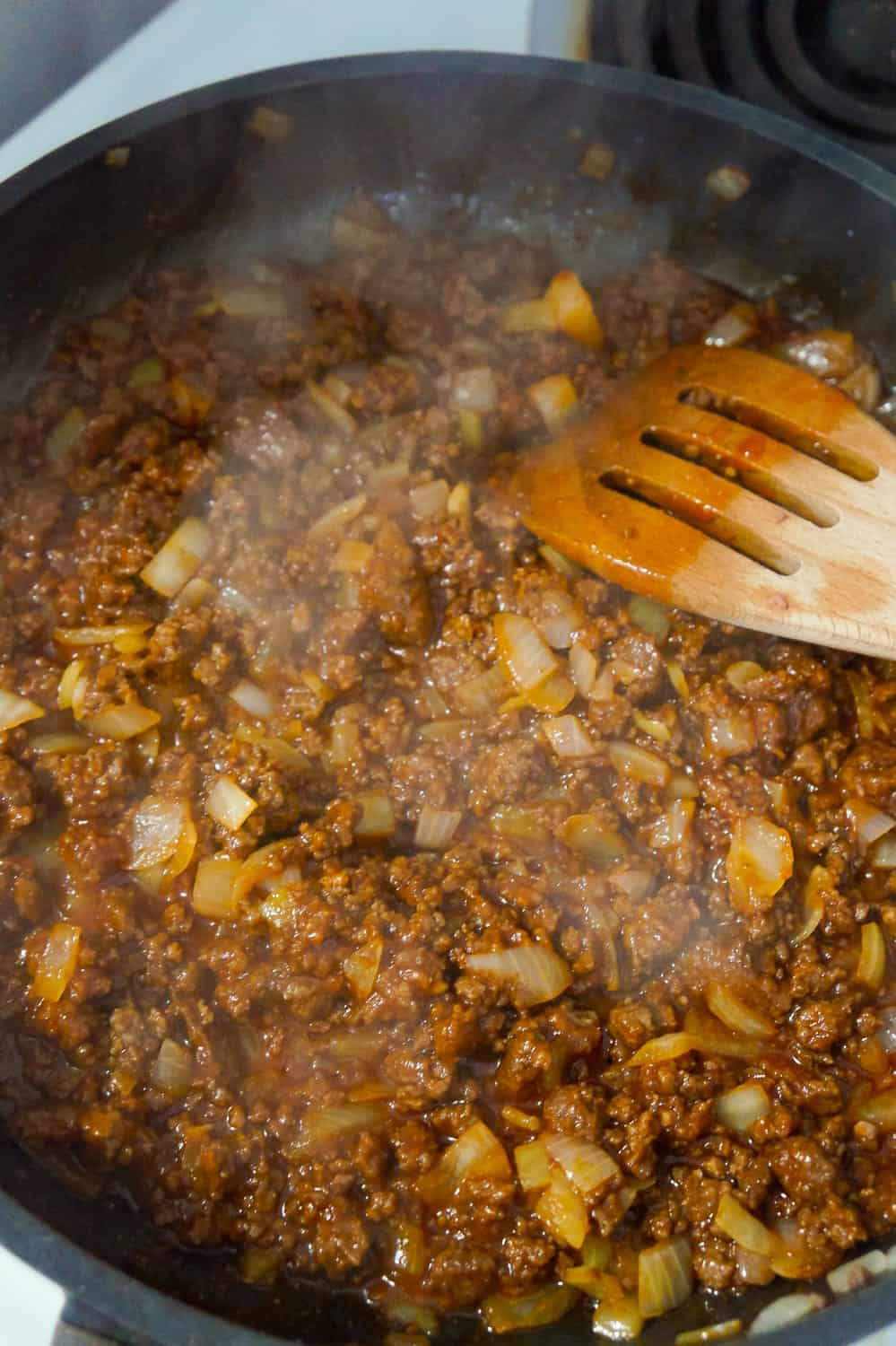 sloppy joe filling in a frying pan