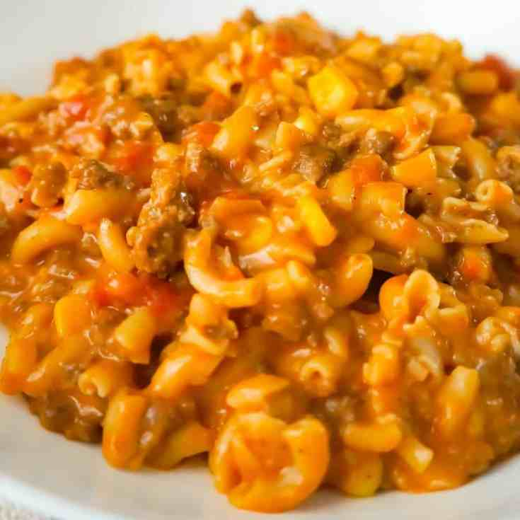Cheesy Beef Goulash with Corn