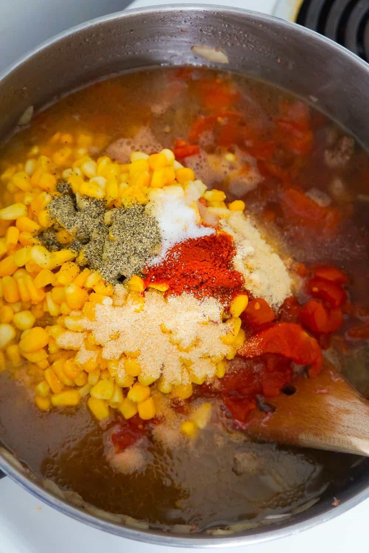 diced tomatoes, corn and seasonings