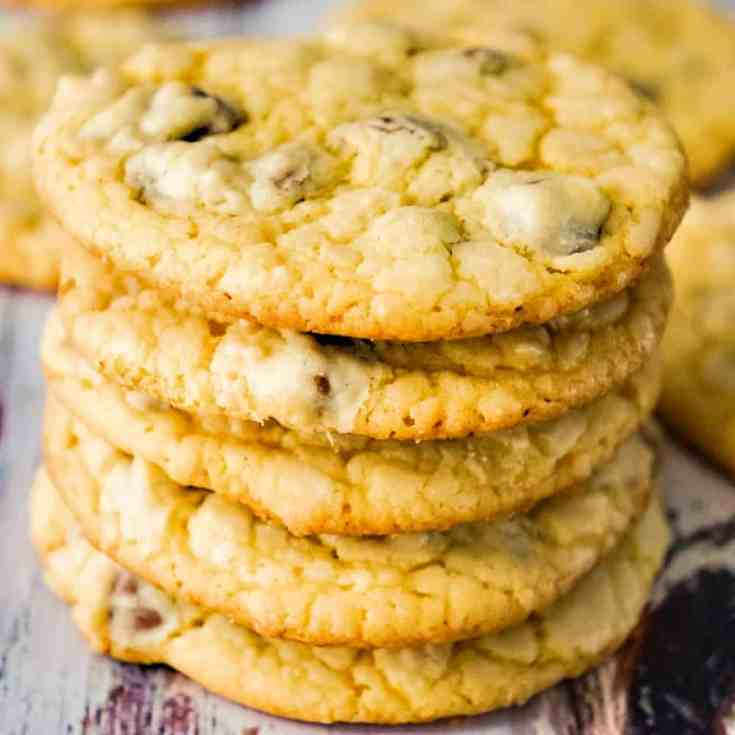 Cake Mix Chocolate Chip Cookies are a quick and easy cookie recipe. These tasty cookies are made with yellow cake mix and loaded with milk chocolate chips.