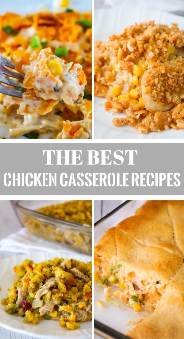 Chicken Casserole Recipes including chicken and rice casserole, Doritos chicken casserole, chicken casserole with stuffing, chicken and green bean casserole and ground chicken casserole.