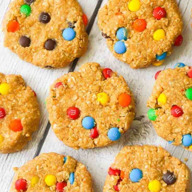 No Bake Monster Cookies are an easy peanut butter dessert recipe perfect for when you don't feel like turning on the oven. These no bake oatmeal peanut cookies are loaded with mini M&M's.