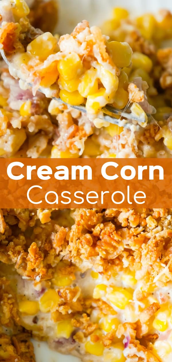 Cream Corn Casserole is an easy side dish recipe loaded with cream of bacon soup, red onions, Parmesan cheese, Ritz crackers and French's fried onions.