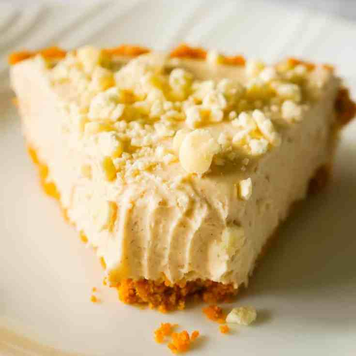 No Bake Pumpkin Spice White Chocolate Cheesecake