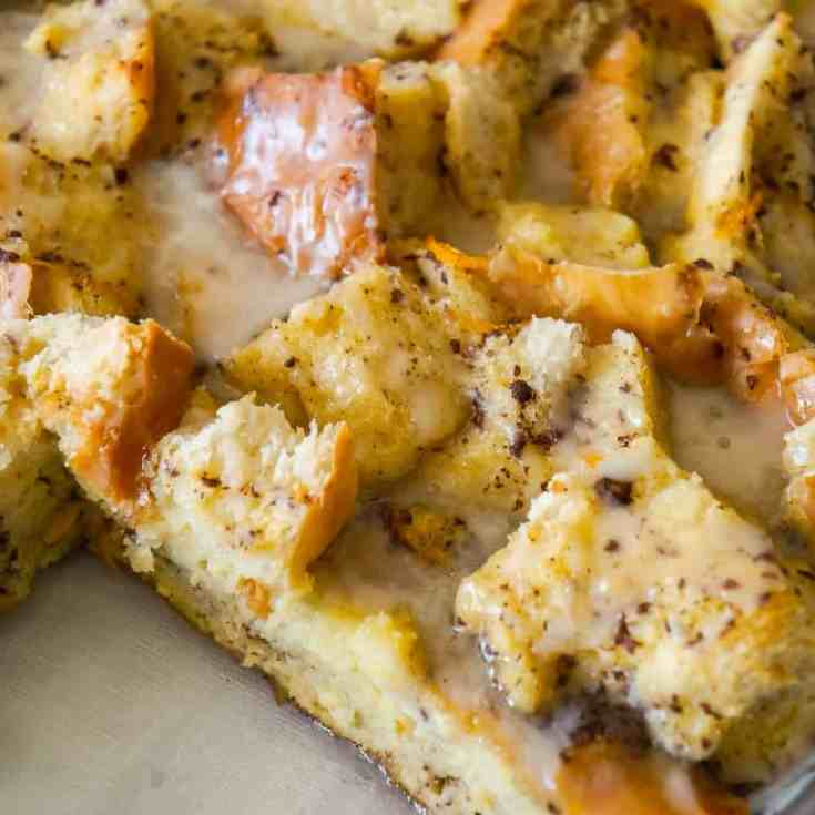 Overnight French Toast Casserole is an easy breakfast casserole recipe made with crusty French bread soaked in an egg mixture flavoured with ground cinnamon, fresh squeezed orange juice and orange zest.