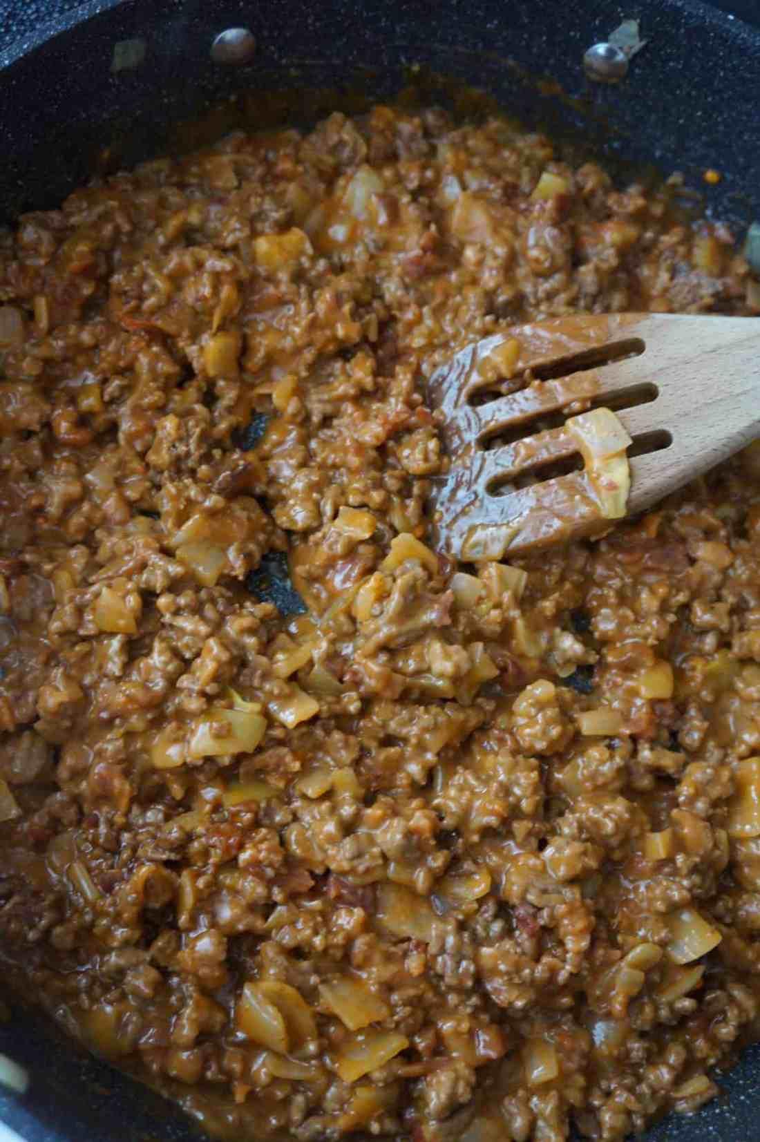 sloppy joe mixture in a pan