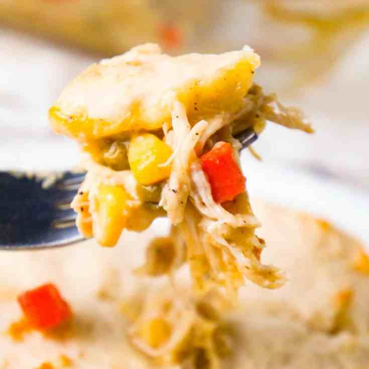 Chicken and Dumplings Casserole is an easy dinner recipe using shredded rotisserie chicken, cream of chicken soup, canned veggies and Bisquick.