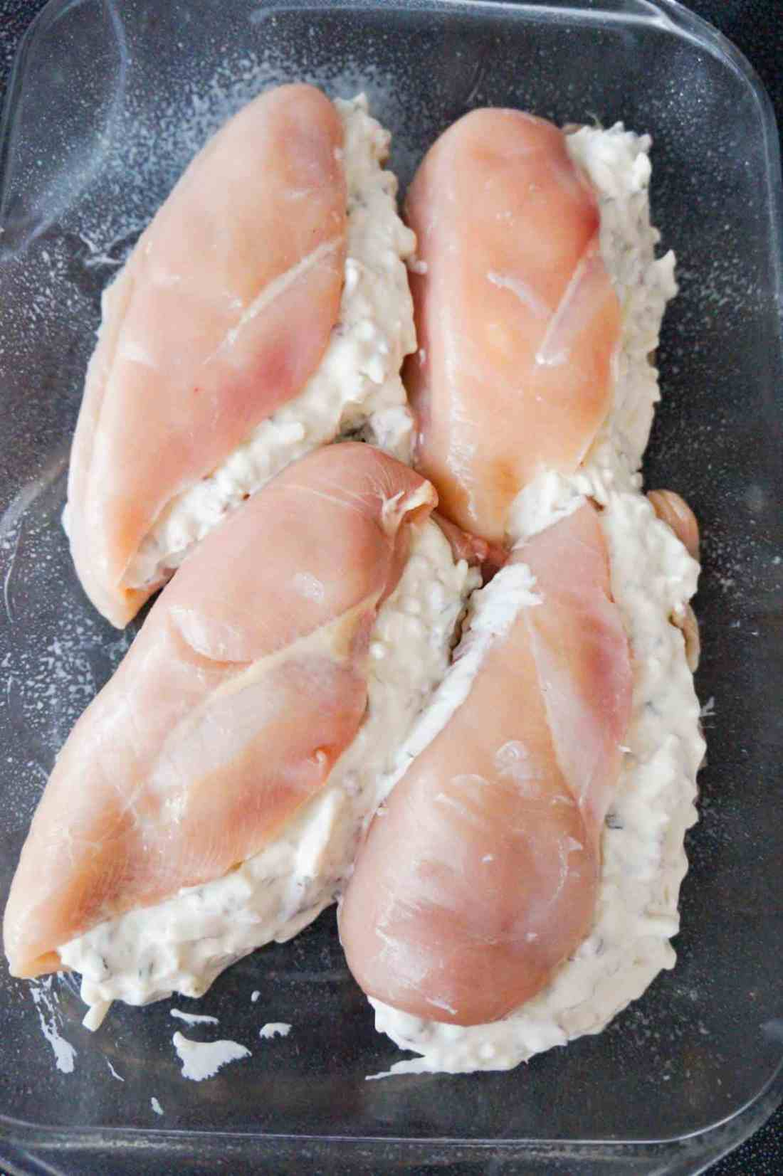cream cheese and bacon stuffed chicken breasts before baking